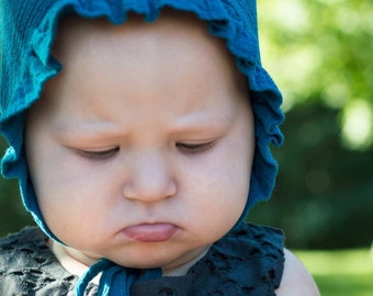 Baby bonnet with ruffle brim, teal crinkle gauze hat with ties, baby gift, baby girl hat, baby girl bonnet, lightweight hat, sun hat