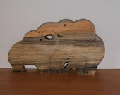 Elephant Family of Three - Elephant Trio - Wooden Elephants - Elephant Decor for Home or Office