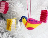 Bird Ornament, Handmade Ornament, One of a kind, Embroidered, Christmas Ornament, Holiday Decoration, Christmas Decor, ready to ship