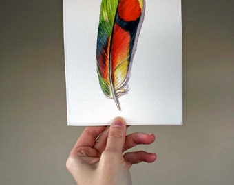 Parrot - Original Feather Watercolor Painting