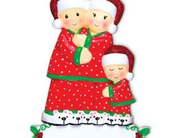 Personalized Ornament Christmas Morning, Grandparents-Family of three, New Parents, Grandkids, Co-workers, Friends