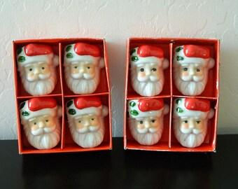 8 Vintage Santa Napkin Rings - Holiday Napkin Holders - Midwest Importers