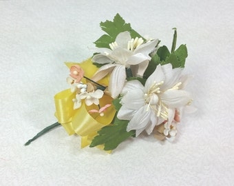 ARTIFICIAL FLOWER CORSAGE, Yellow Ribbon, White & Pink Fabric Flowers, Pin Back, Vintage Millinery, Wedding, Clothing, Hat Embellishment