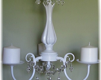 HANGING CHANDELIER CANDLE Holder  - Oak 3 arm  Satin  White with Clear Glass Votives, or Pillar Candles /Outdoor /Indoor