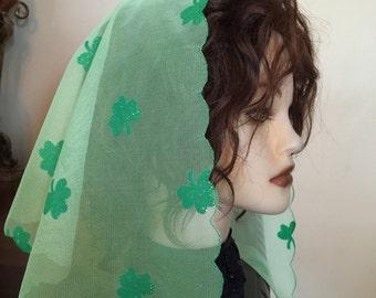 Unique Saint Patrick  Green mint  Chapel Headcovering Church lace net veil -  very pretty - soft  - women -