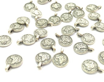20 Pcs (8mm) Antique Silver Plated Ottoman Signature Charms   G4618