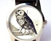 25% OFF ON SALE Owl Watch, Vintage Style Leather Watch, Women Watches, Boyfriend Watch, World Map, Men's Watch , Brown,