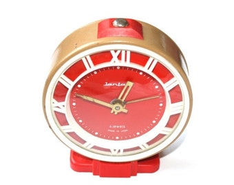 25% OFF ON SALE Vintage alarm clock Jantar brown clock red clock