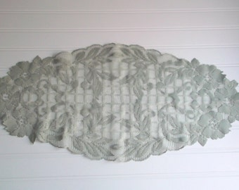 Vintage Table Runner Sage Green Lace Table Runner Large Oblong Doilie Home & Living Home Decor