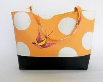 BigBoyCommuterTote/workbag/gymbag/diaperbag/veganbag/fabrictote/orange diving bird