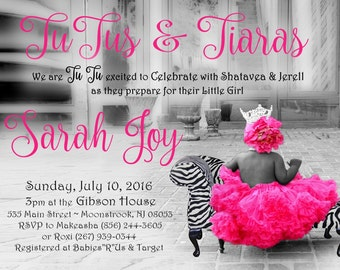 TuTu and Zebra - Baby Shower Invitation DIGITAL FILE