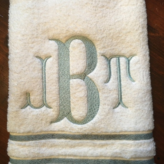 Monogrammed Hand Towel Fish Tail Font By KottonKandyLLC On