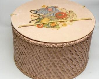 vintage pink wicker sewing basket