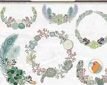 SALE - Succulent Wreath Clip Art, Succulent Floral Border ClipArt, Flower Cluster Digital Design Element, Wedding Graphic Monogram Frame