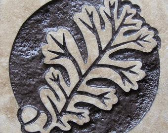 English Oak Leaf and Acorn - 4x4 Etched Travertine Stone Tile - SRA