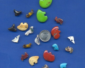 20 Gemstone Animal Beads, Pairs, Crafts, Jewelry, Lot 80
