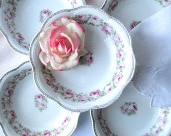 Antique Scherzer Mignon Pink and Green Rose Soup Bowls Set of Five, Wedding Decor, Shabby, Tea Parties