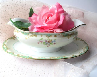 Vintage Noritake Gravy Boat Seafoam Green Pink Floral with Attached Underplate