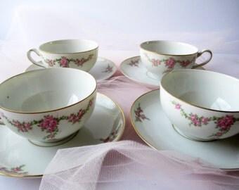 Vintage Teacups and Saucers Heinrich Palace Pink Rose Set of Four