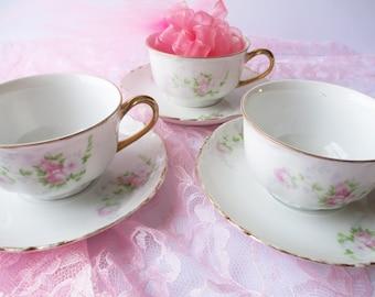 Teacups and Saucers Vintage Hutschenreuther Bavarian Pink Blue Rose Set of Three - Vintage Charm