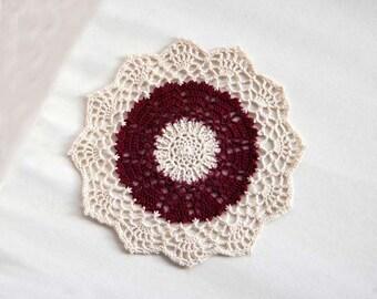 Dark Red Hearts Crochet Lace Doily, Victorian Home Decor, Burgundy, Ecru