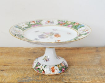 Antique Floral Painted Compote Shierholz Germany Footed Reticulated Small Cake Plate Flowers