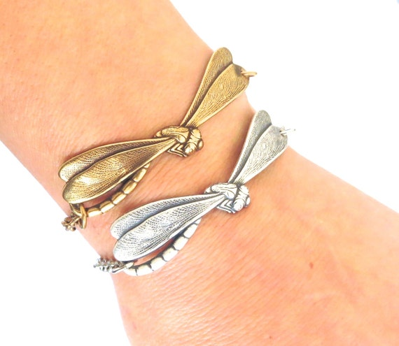 Steampunk Dragonfly Bracelet- Antiqued Brass OX or Sterling Silver Ox Finishes