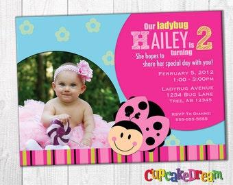 Ladybug Birthday Invitation, Girl First Birthday