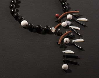 "Black & White Horn Necklace from ""mobile"" series"
