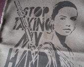 Rey Star Wars the Force Awakens patch stencil spray paint diy handmade street art feminist patches riot grrrl