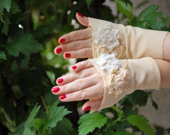 Bridal gloves, shabby chic, jane austen, victorian, cuffs, cream, roses, romance, alternative wedding, cream and white, tatter punk, lady