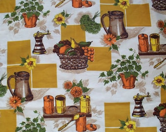 """Vintage Kitchen Curtain Print 1960's or 70's 36"""" Wide X 9 Yards"""