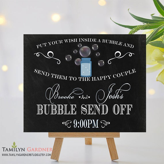 Bubble Send Off Wedding Sign - Chalkboard Bubble Send Off ...