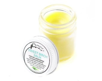 Sweet Birch Balm - relief for irritated skin - wintergreen scent - organic herbal salve - 1 oz glass jar