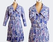Vintage 60s 70s Blue Modernist Tapestry Fabric Coat