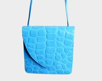 Vintage 90s Blue Croc Embossed Leather PURSE / 1990s Long Shoulder Bag