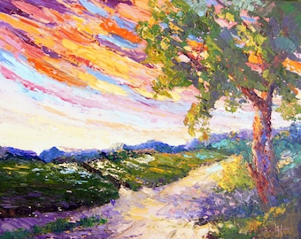 "COMMISSION PAINTING Oil palette knife tree. sunset painting ""Sunset Over the Vineyard"" for Hans"