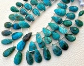 Brand New,1/2 Strand,aaa Quality Brand New, RARE BLUE CHRYSOCOLLA Faceted Elongated Pear,12-18mm size,Superb Gem Stone