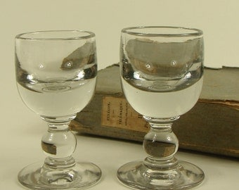 Pair of  Vintage French HAND BLOWN Apéritif Shot Glasses