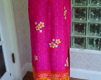 "NWTOS 70s Alex Coleman Maxi Skirt Toile Vibrant Pink Orange Floral Maxi Lined 20"" Slit M Medium"