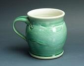 Pottery coffee mug, ceramic mug, stoneware tea cup jade green 16 oz 3390