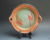 Handmade white stoneware serving platter, serving plate, iron red 3103