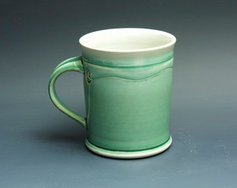 Pottery coffee mug, ceramic mug, stoneware tea cup jade green 16 oz 3402