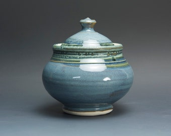 Handmade stoneware sugar bowl storage jar tea caddy blue/green 3046