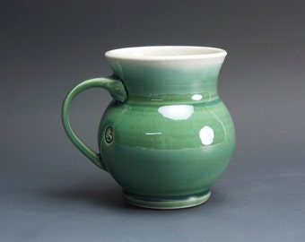 Pottery coffee mug, ceramic mug, porcelain tea cup jade green 14 oz 3056