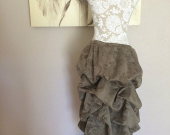 Up-cycled Brownish - Olive brocade Tie On Bustle Skirt