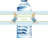 Peter Rabbit Water Bottle Labels- Waterproof-Baby Shower or Birthday Beatrix  Potter bunny  Easter 1st birthday  baby shower birthday