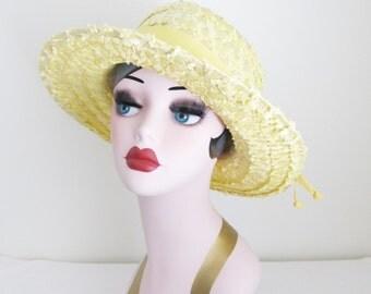 Vintage Bright Yellow Straw Hat / 1960's Short Brim Summer Party Sun Hat