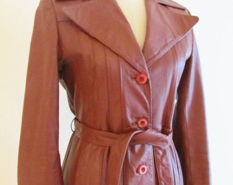40% OFF SALE Vintage 1970's Leather Jacket / Long Oxblood Leather Trench Coat Wilson's Leather Size S/M