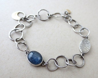 Celeste - Sterling Silver Chain Bracelet With Kyanite and Small Brass Charms